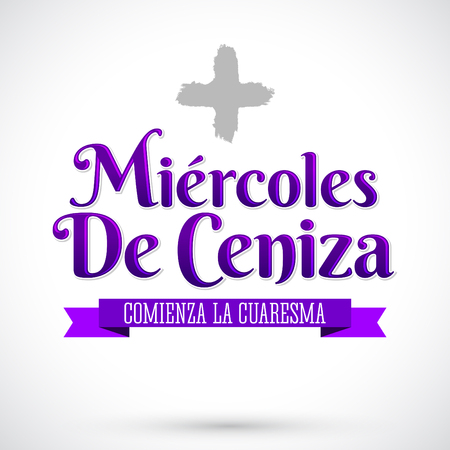 Miercoles de Ceniza - Ash Wednesday spanish text - Christian tradition vector emblem
