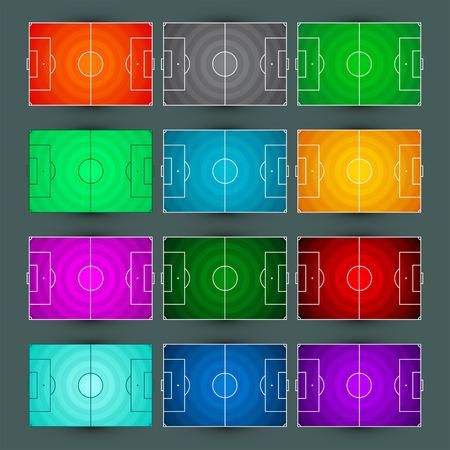 축구 - 축구 필드 마스터 컬렉션, 원형 잔디 질감 - 색상 다양 한 그림 설정 일러스트