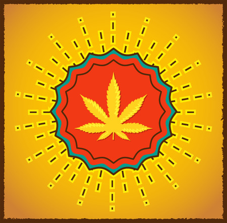 stoned: Ganjah emblem vector seal - vintage sign,  Ganjah it is a term used by Rastafarians to call marijuana