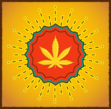 Ganjah emblem vector seal - vintage sign,  Ganjah it is a term used by Rastafarians to call marijuana