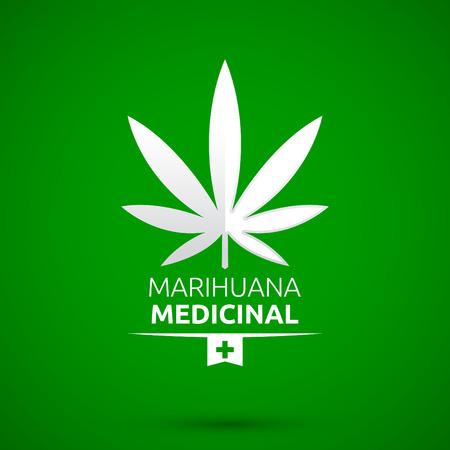 marihuana: Marihuana Medicinal - Medical Marijuana spanish text, vector emblem