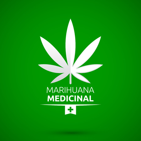 Marihuana Medicinal - Medical Marijuana spanish text, vector emblem