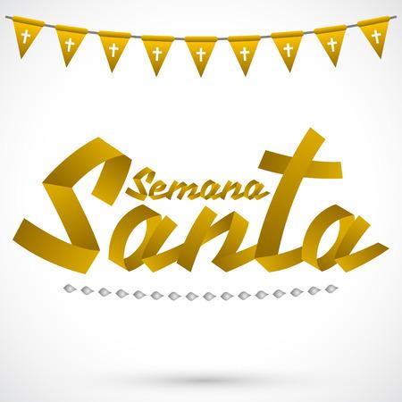 semana santa: Semana Santa - Holy Week spanish text - Golden ribbon vector lettering, Latin religious tradition before Easter