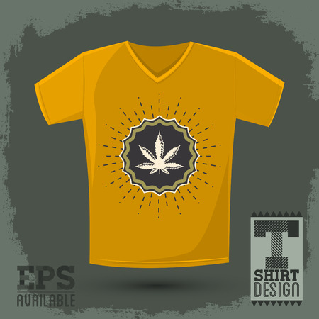 toke: Ganjah emblem vector t-shirt print template, Ganjah it is a term used by Rastafarians to call marijuana