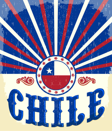 chilean: Chile vintage patriotic poster - card vector design, Chilean holiday decoration