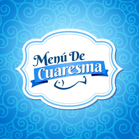 spanish food: Menu de Cuaresma - Lenten menu spanish text - Lent sea food vector label with texture background, menu cover design