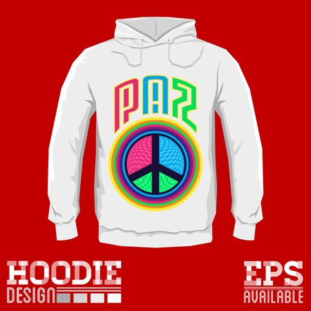 Paz - Peace spanish text - Vector hoodie print design with Peace and Love Icon, emblem - sweatshirt print template