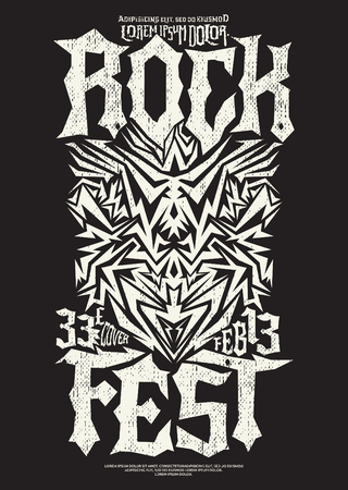 metal monochrome: Hardcore Rock fest poster design template - metal festival monochrome label Illustration