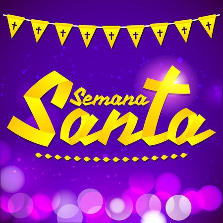 viernes santo: Semana Santa - Semana Santa de texto espa�ol - cinta del vector letras de oro, la tradici�n religiosa Am�rica antes de Pascua Vectores