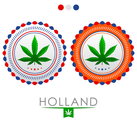 Holland marijuana emblem - vector cannabis seal of approval with the colors of the flag of Holland 向量圖像