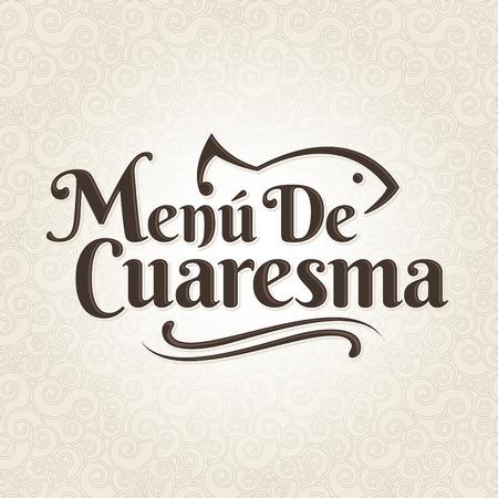 Menu de Cuaresma - Menu maigre espagnol texte - étiquette vecteur Lent mer alimentaire avec la texture de fond - Pendant le temps du Carême est la tradition de manger un menu sans viande en Amérique latine