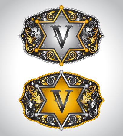 gold buckle: Cowboy Rodeo belt buckle design - Letter V - Alphabet initial vector design Illustration