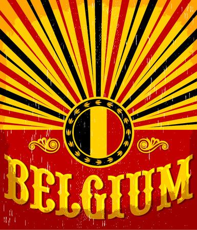 vintage colors: Belgium vintage old poster with Belgian flag colors - card vector design, Belgium holiday decoration Illustration