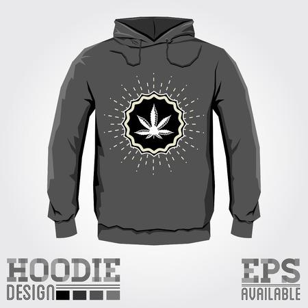 hoodie: Ganjah emblem vector hoodie print design with Marijuana leaf - sweatshirt template, Ganjah it is a term used by Rastafarians to call marijuana
