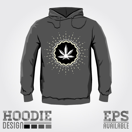 Ganjah emblem vector hoodie print design with Marijuana leaf - sweatshirt template, Ganjah it is a term used by Rastafarians to call marijuana