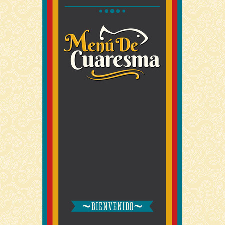 spanish tradition: Menu de Cuaresma - Lenten menu spanish text - Lent sea food vector menu cover design  - During the season of Lent is tradition to eat a meat-free menu in latin america