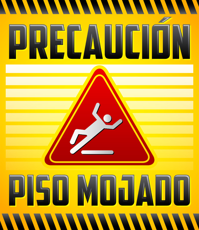 Piso Mojado Precaucion - Caution wet floor Spanish text - vector warning and cleaning in progress sign Çizim