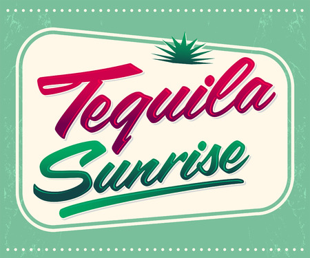 mexico beach: Tequila sunrise vector sign - lettering - mexican drink icon, emblem