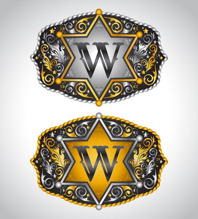 Cowboy Rodeo belt buckle design - Letter W - Alphabet initial vector design