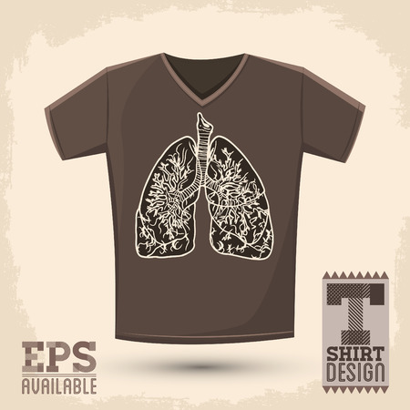 shirt design: Graphic T- shirt design, vector illustration with lungs, conceptual shirt print
