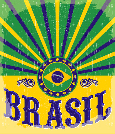 Brasil vintage patriotic poster - card vector design, brazilian holiday decoration 矢量图像
