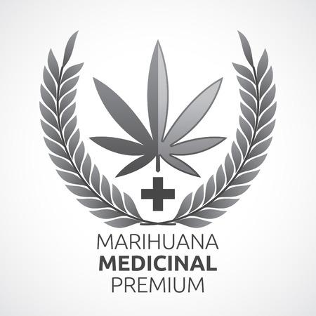 marihuana leaf: Marihuana Medicinal Premium - Premium Medical Marijuana spanish text, gorgeous  vector medical cannabis emblem