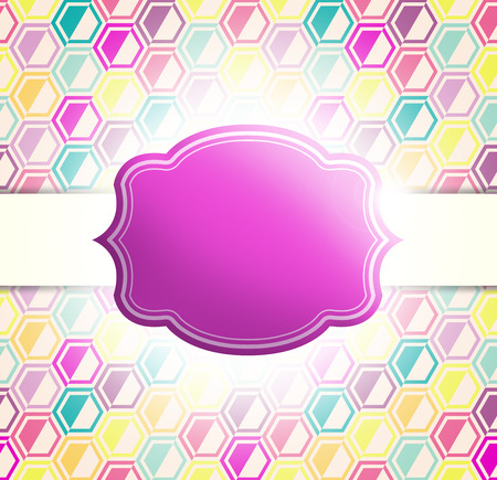 ready: Label illustration with retro colorful hexagon pattern - design ready for your text Stock Photo