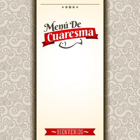 food to eat: Menu de Cuaresma - Lenten menu spanish text - Lent sea food vector menu cover design - During the season of Lent is tradition to eat a meat-free menu in latin america