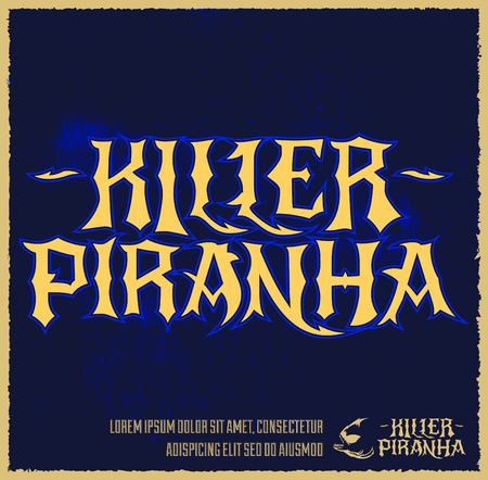 voracious: Killer Piranha - Lettering vector emblem - label design