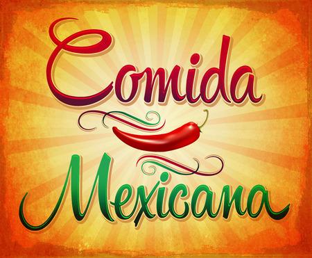 Comida Mexicana - Mexican Food Spaanse tekst - pittige vintage teken illustratie