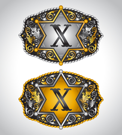 buckle: Cowboy Rodeo belt buckle design - Letter X - Alphabet initial vector design Illustration
