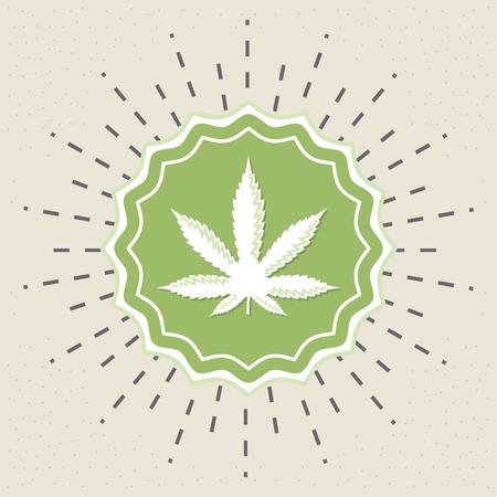 rastaman: Ganjah emblem vector seal - vintage sign, Ganjah it is a term used by Rastafarians to call marijuana Illustration
