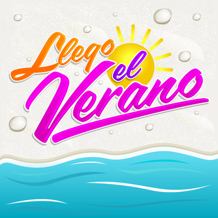 arrived: Llego el Verano - Summer has arrived spanish text, vector lettering