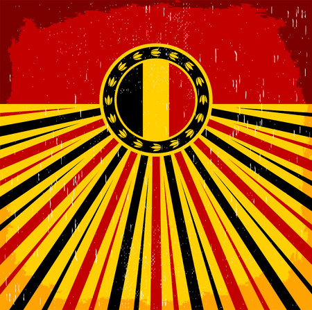 assumption: Belgium vintage old poster with Belgian flag colors - card vector design, Belgium holiday decoration Illustration