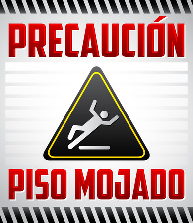 Piso Mojado Precaucion - Caution wet floor Spanish text - vector warning and cleaning in progress sign Illustration