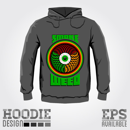 Hoodie design - Smoke weed red eye abstract Vector illustration - print design