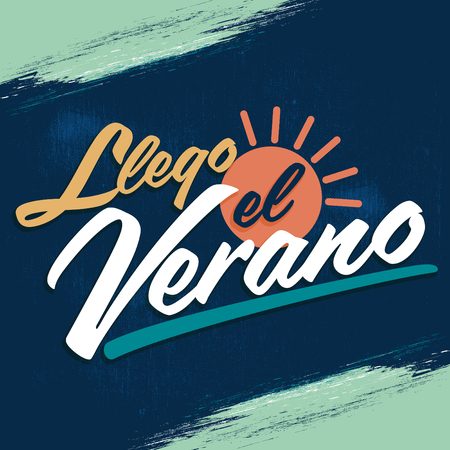 has: Llego el Verano - Summer has arrived spanish text, vector vintage lettering Illustration