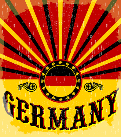 assumption: Germany vintage old poster with German flag colors - design, Germany holiday decoration