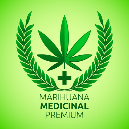thc: Marihuana Medicinal Premium - Premium Medical Marijuana spanish text, gorgeous medical cannabis emblem