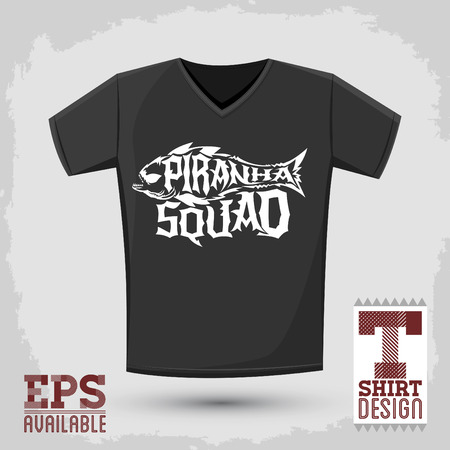 squad: Piranha Squad - emblem t-shirt print template, silkscreen lettering design Illustration