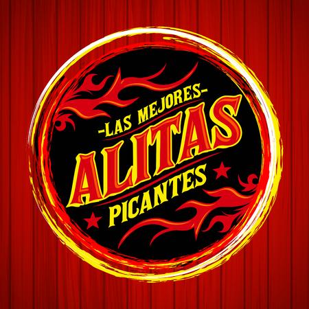 Alitas Picantes Las Mejores - La mejor alitas de pollo caliente texto español, Grunge sello de goma, la comida picante