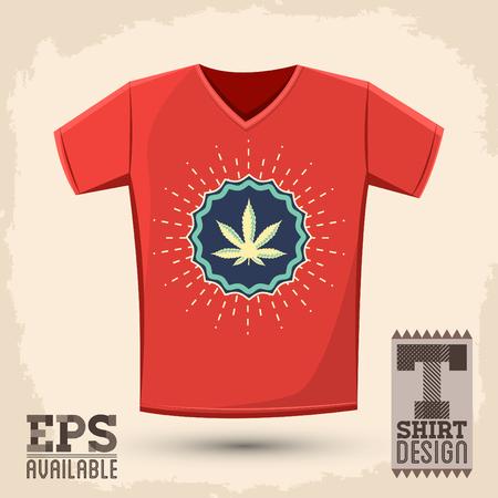 toke: Ganjah emblem t-shirt print template, Ganjah it is a term used by Rastafarians to call marijuana