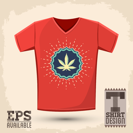 Ganjah emblem t-shirt print template, Ganjah it is a term used by Rastafarians to call marijuana