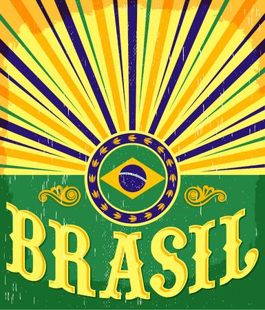 brasil: Brazil vintage patriotic poster - card design, brazilian holiday decoration