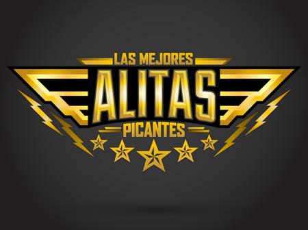 Alitas Picantes Las Mejores - las mejores alas de pollo caliente texto español, estilo militar emblema alimento premium