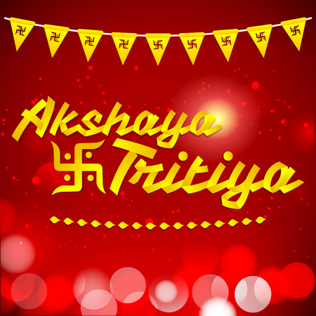 kalasha: Akshay Tritiya - Traditional India celebration - Golden ribbon Vector Lettering with red background Illustration