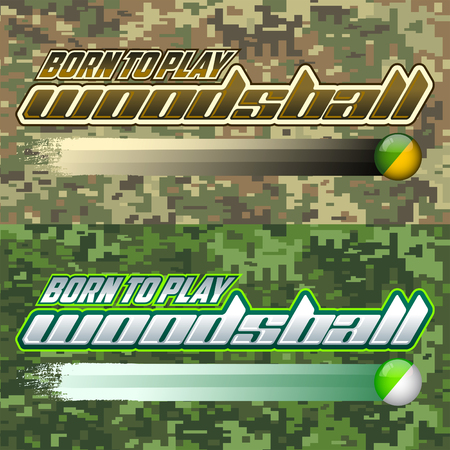 Born to Woodsball Play - is een formaat van paintball gaming, icon, kleurrijke banner Stock Illustratie