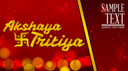 Akshay Tritiya - Traditional India celebration - Golden ribbon Vector Lettering with red background Illustration