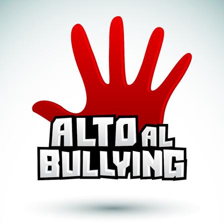 Alto al Bullying - Stop Bullying spanish text, vector icon illustration Illustration
