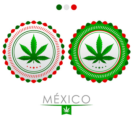 congress center: Mexico marijuana emblem - vector cannabis seal of approval with the colors of the flag of Mexico